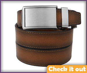 Cognac Leather Belt with Silver Buckle.