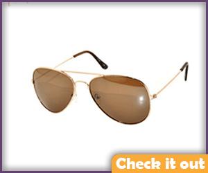 Aviator Sunglasses, Gold Frame.