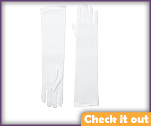 White Mid-Arm Gloves.