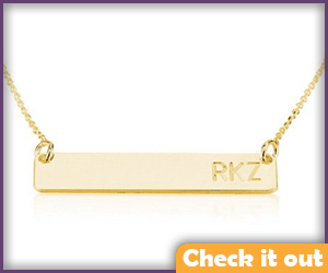 Gold Name Plate Necklace.
