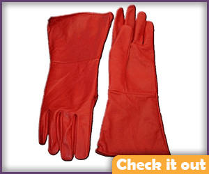 Red Leather Gauntlet Gloves.