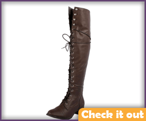 Brown Front Lace-Up Boots.