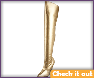 Gold Thigh-High Boots.