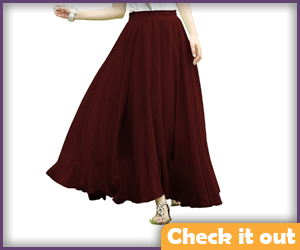 Wine Color Skirt.