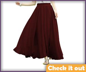 Wine Color Skirt.
