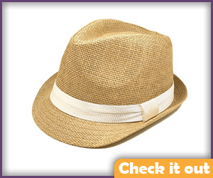 Straw Fedora White Band.