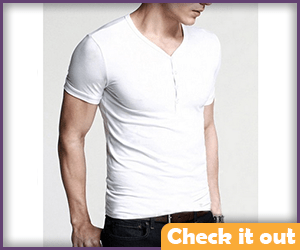 V-Neck Button Collar Shirt.
