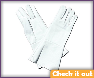 White Leather Gauntlet Gloves.