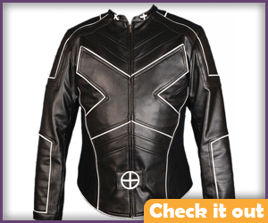 X-Men Leather Jacket White Piping.