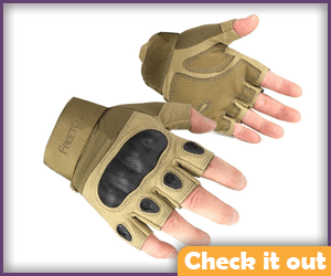 Tan Tactical Fingerless Gloves.