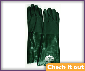 Metallic Green Gauntlet Gloves.