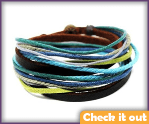 Multi-Color Leather Wrap Bracelets.