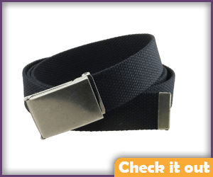 Black Canvas Belt, Silver Buckle.