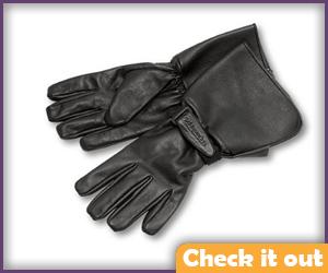 Black Leather Gauntlet Gloves.