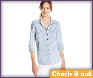 Blue Striped Button Shirt.