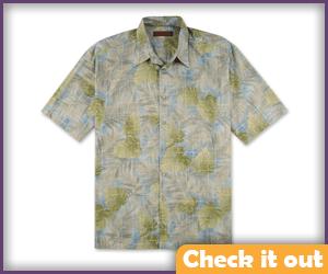 Light Green Flora Hawaiian Shirt.
