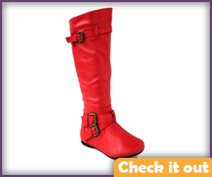 Red Flat Leather Boots.