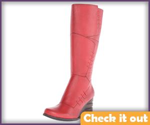 Red Textured Calf-High Boots.
