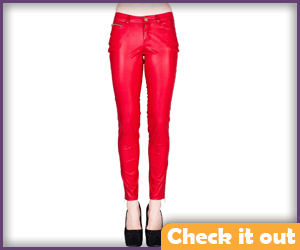 Red Leather Look Pants.