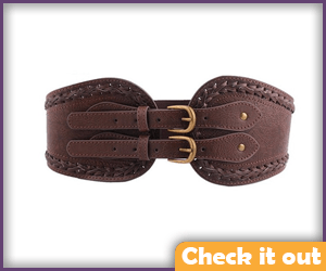 Brown Double Buckle Waist Belt.