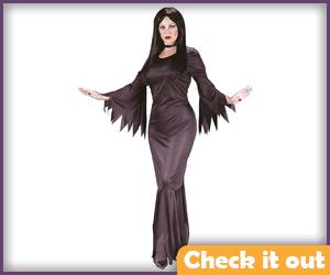 Morticia Adams Costume Plain Dress.