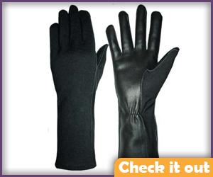 Men's Black Long Gloves.