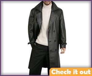 Black Leather Coat.