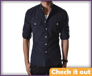 Navy Button Up Shirt.