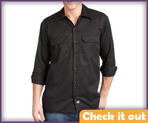 Black 3/4 Sleeve Button-Up Shirt.