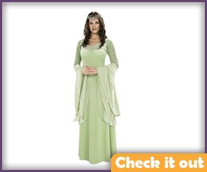 Arwen Costume Green Dress with Tiara.