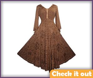 Sansa Stark Costume Tan Medieval Dress.