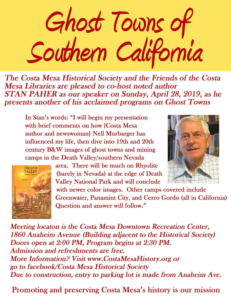 Brochure for Stan Paher's talk on the Ghost Towns of Southern California
