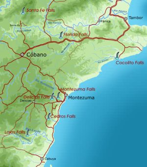 Montezuma Waterfalls Map