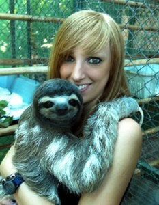 Becky Cliffe sloth woman costa rica
