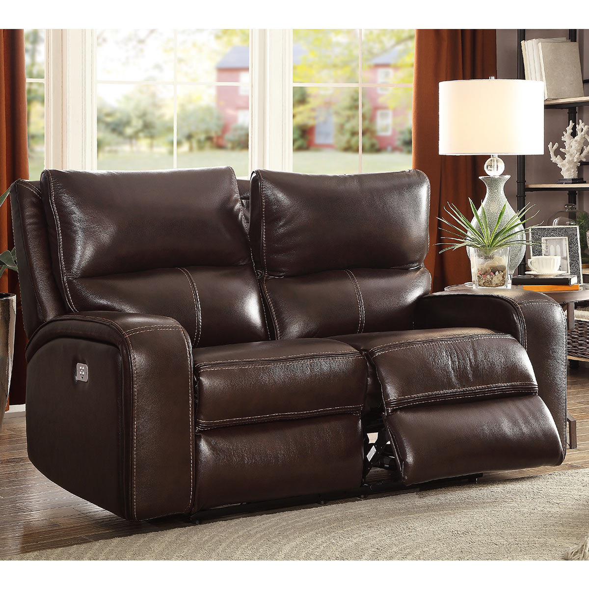 Zach 2 Seater Brown Leather Power Recliner Sofa Costco Uk