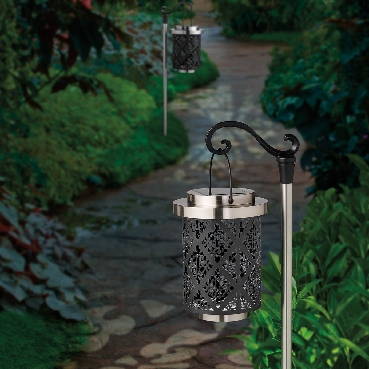 shepard s hook damask solar landscape lights pack of 2 costco uk