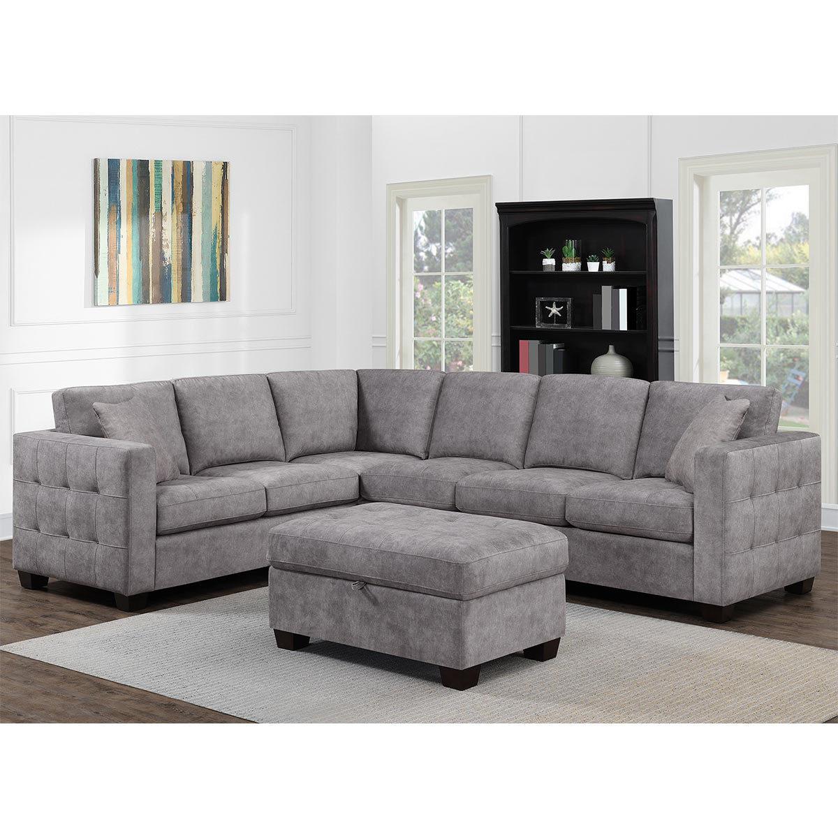 thomasville kylie grey fabric corner sofa with storage ottoman costco uk