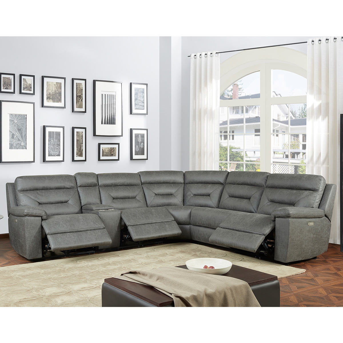 القرف سقط تتالي corner sofa with console