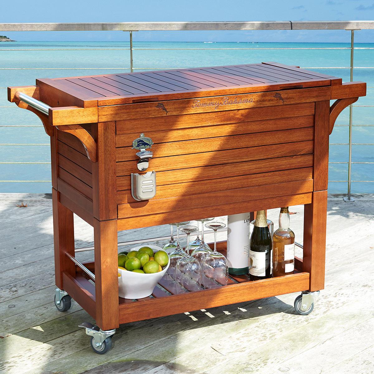 tommy bahama rolling wood cooler 100qt costco uk