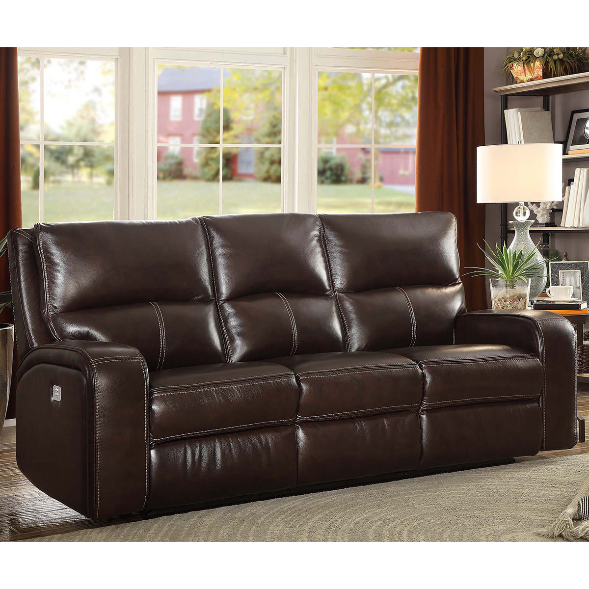Zach 3 Seater Brown Leather Power Recliner Sofa Costco Uk