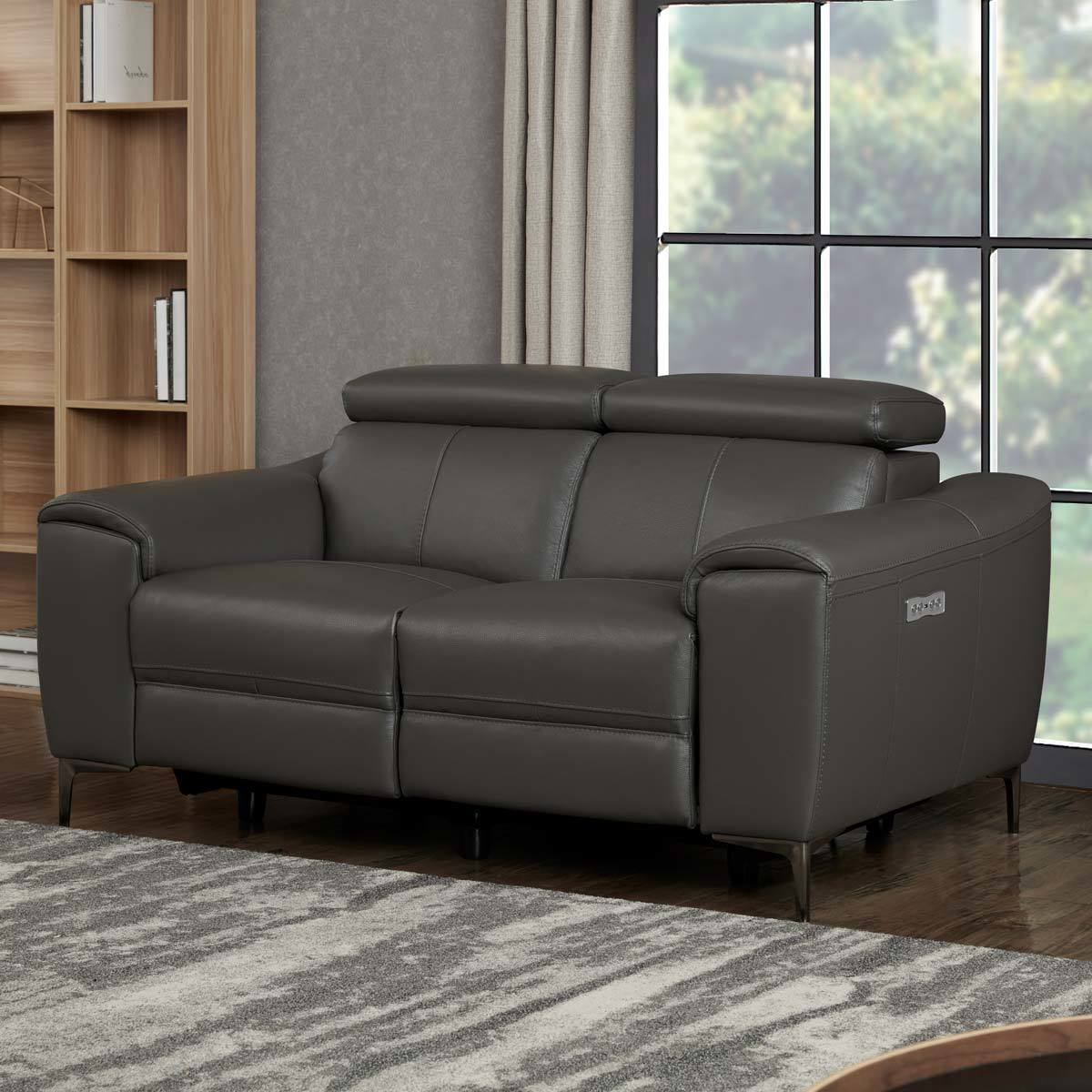kuka warren 2 seater dark grey leather power reclining sofa costco uk