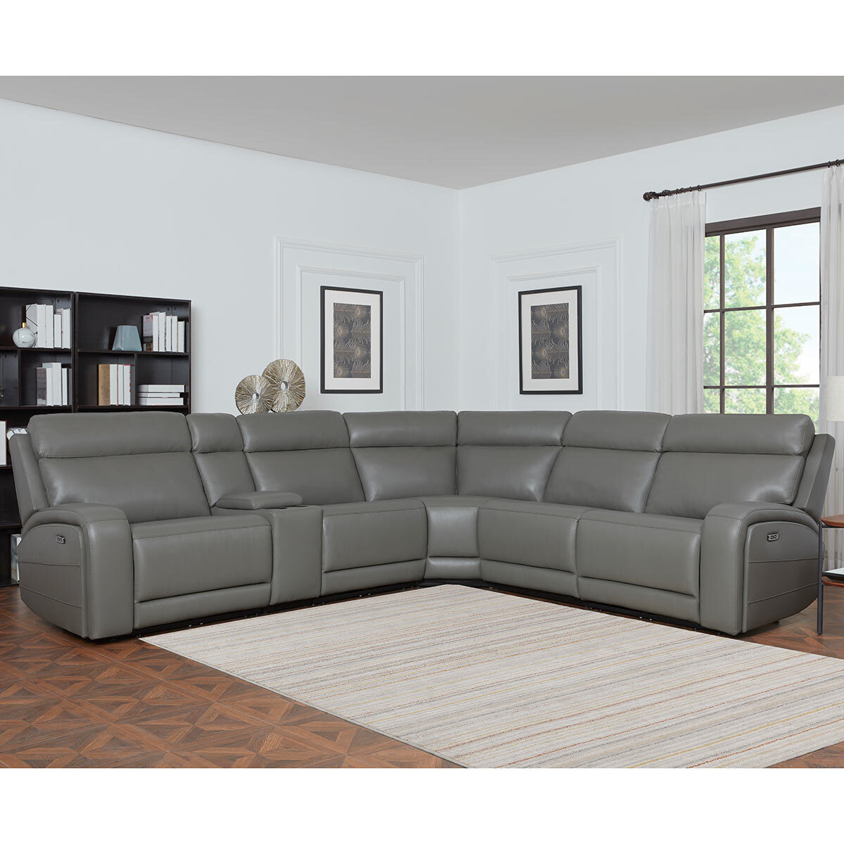 kuka paisley leather power reclining sectional sofa with power headrests costco uk