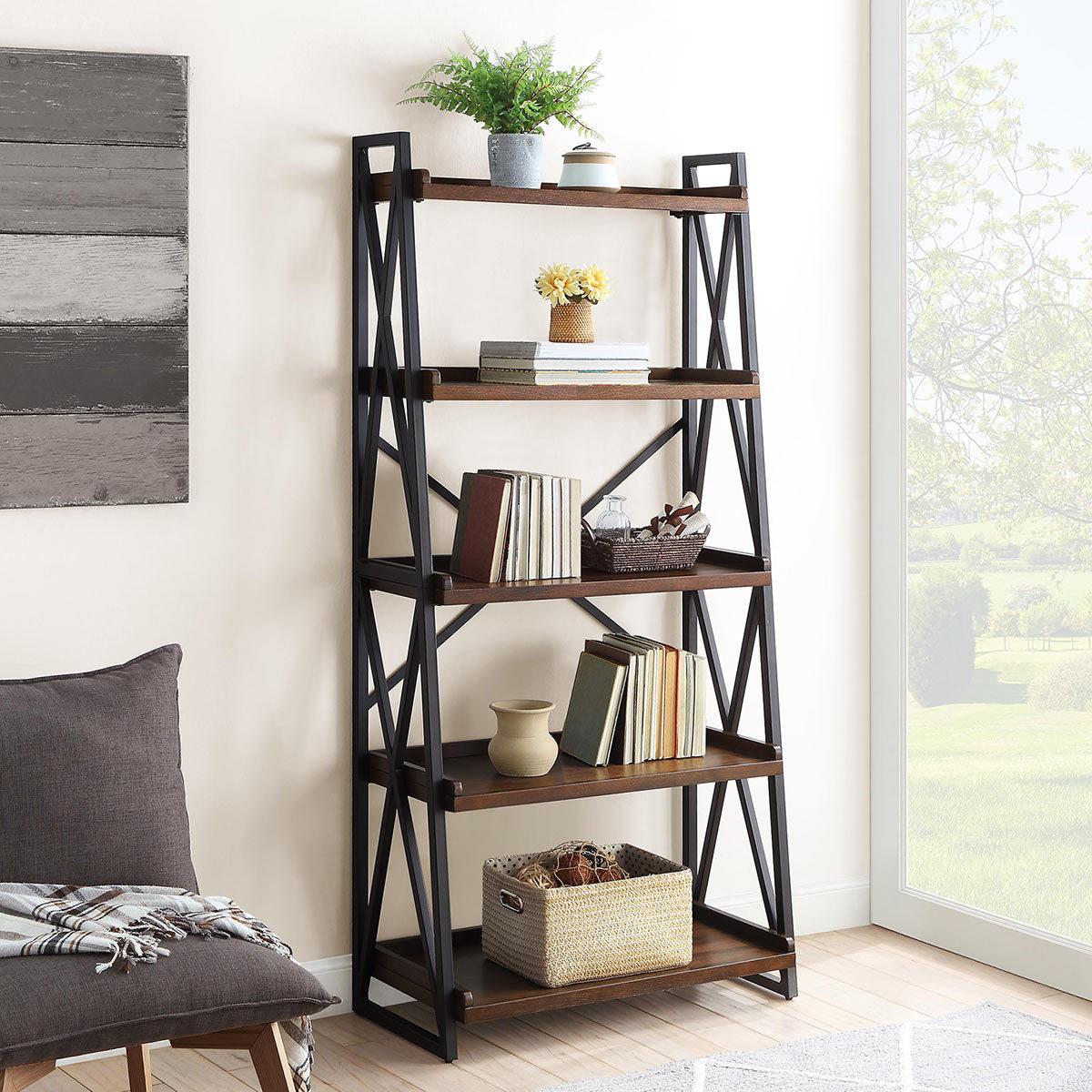 Bayside Furnishings Ladder Bookcase With 5 Fixed Shelves Costco Uk