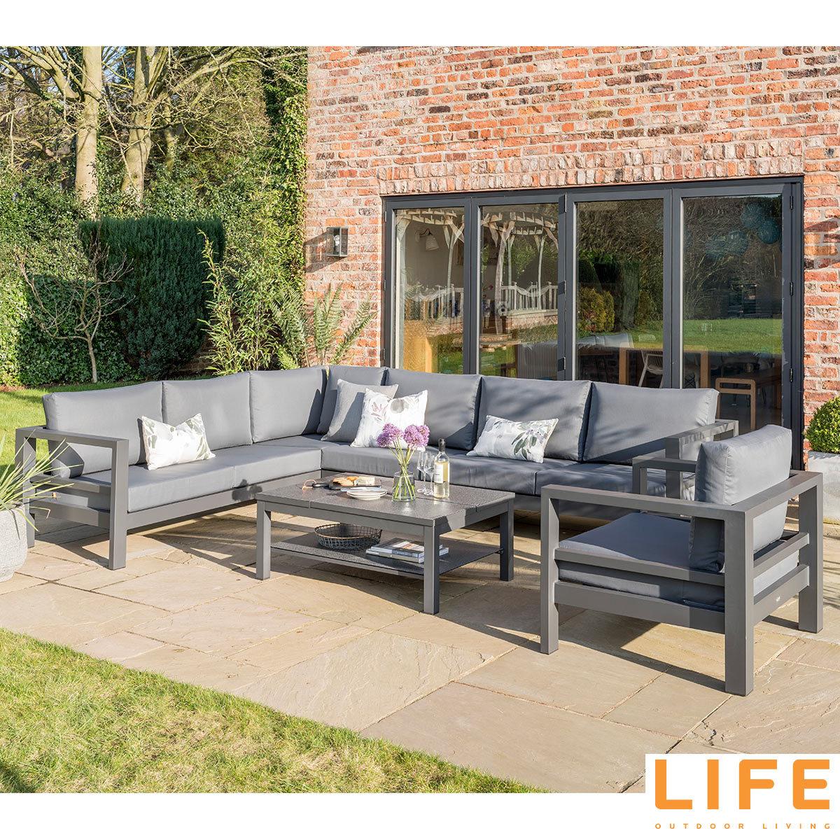 life outdoor living lava 6 piece corner seating set | costco uk