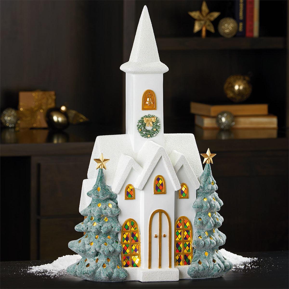 22 55 8 Cm Led Snowy Church Christmas Decoration Costco Uk