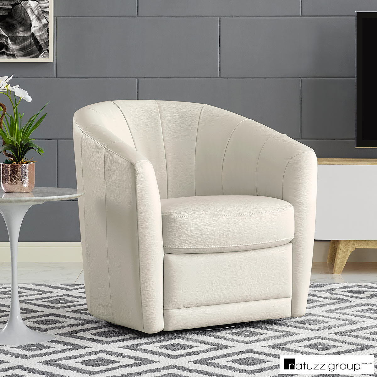 Natuzzi Cream Leather Swivel Accent Chair Costco Uk