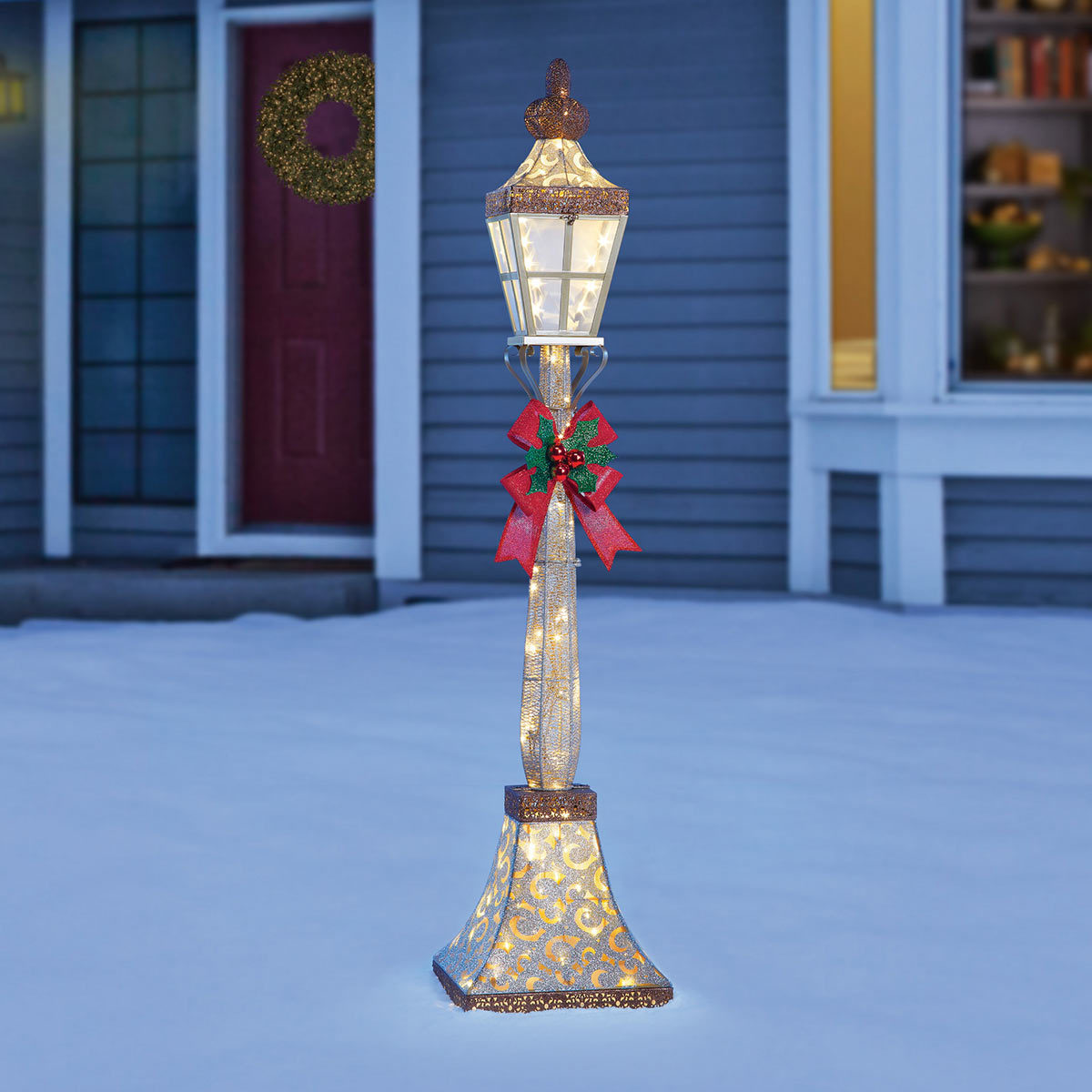 6ft 1 8m Christmas Street Lamp Bow With 120 Led Lights Costco Uk