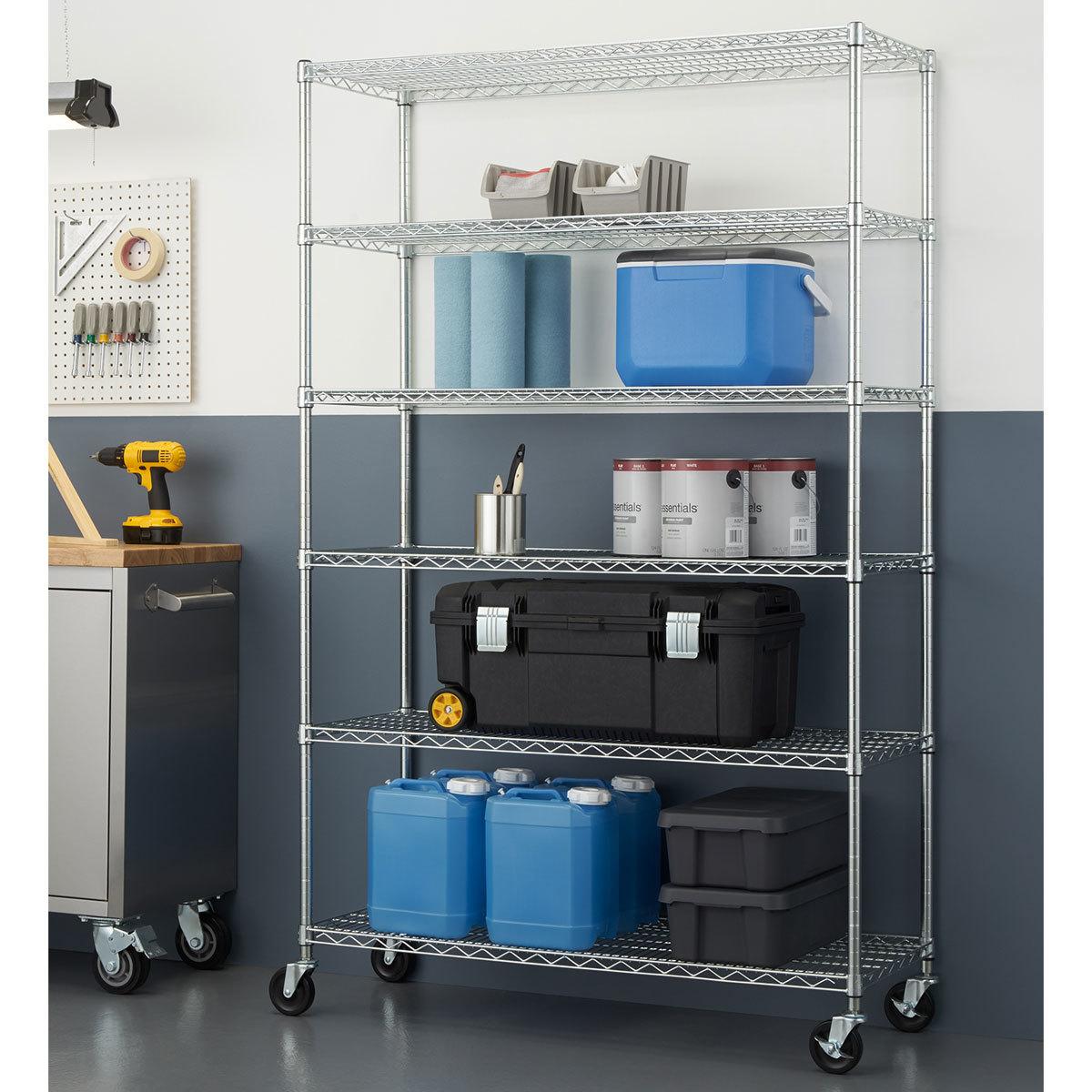 Trinity 48 122cm Ecostorage 6 Tier Chrome Storage Unit With Casters Costco Uk