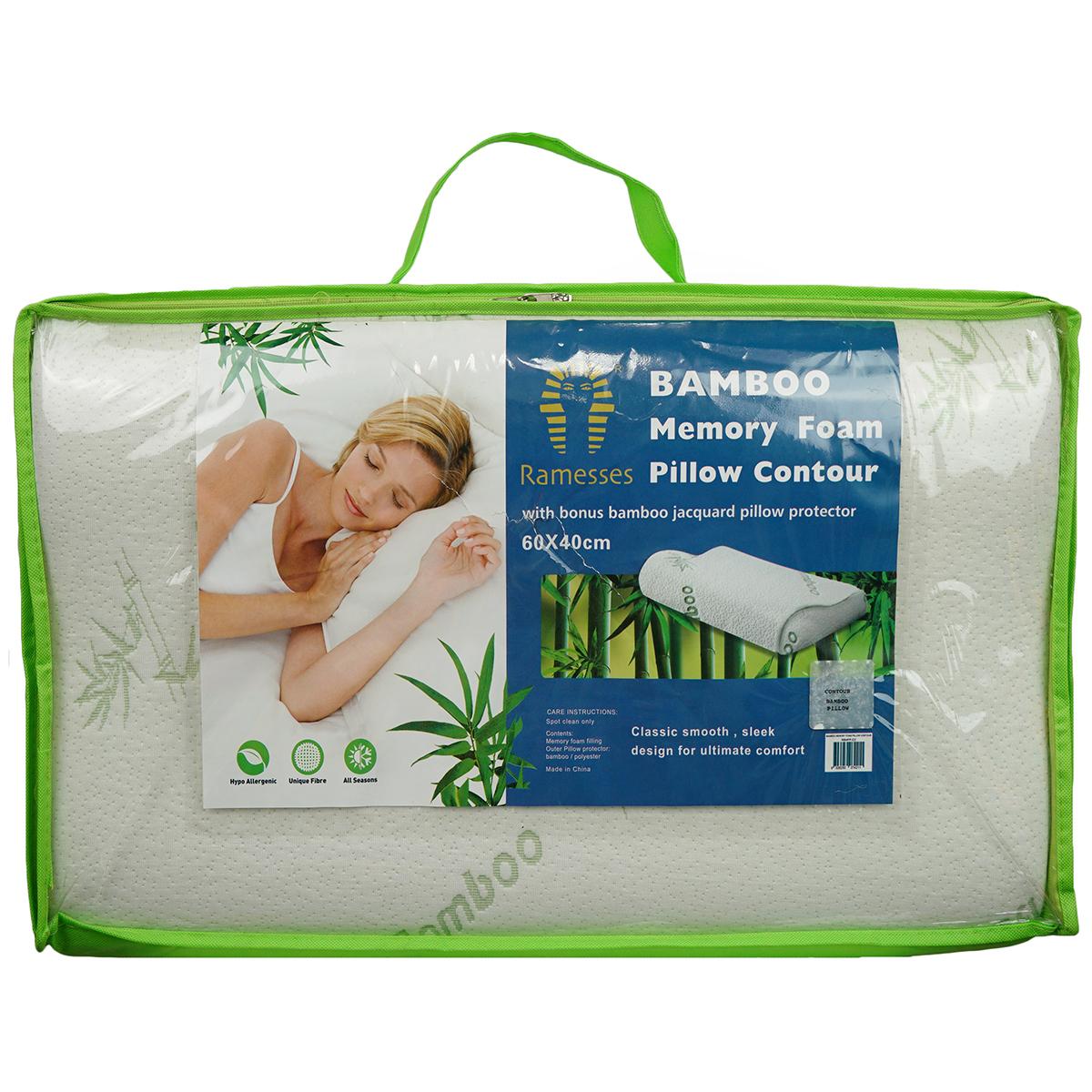 ramesses bamboo memory foam contour pillow