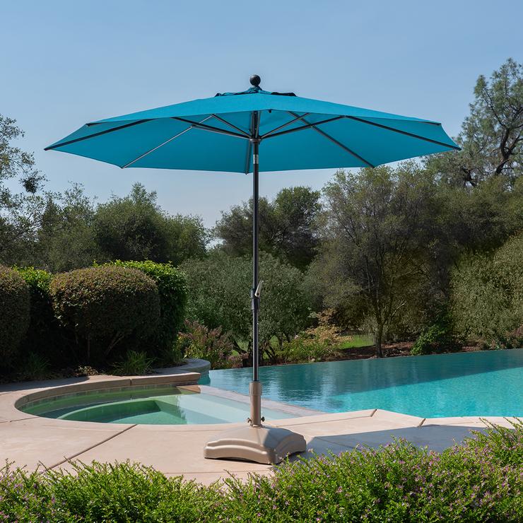 activa leisure sombrilla de patio con inclinacion automatica de 3 m color azul turquesa costco mexico
